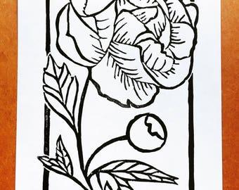 Peony   Linocut Print