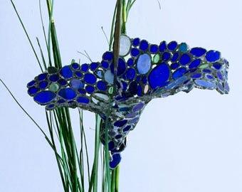 Blue Glass Flower Sculpture on Stem - For garden or home decoration