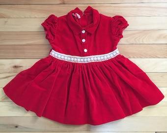 Vintage 1950s Toddler Girls Red Velvet Lace Christmas Holiday Dress! Size 2