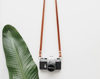 Skinny Leather Camera Strap - Brown - Mirrorless Camera Strap - Film Camera Strap