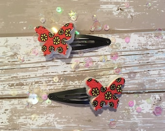 Pair of Handmade Floral Butterfly Hair Clips