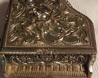 Silver Ornate Filigree Grand Piano Music Jewelry Box