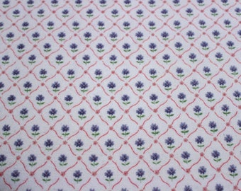 44 X 72 Blue Pink and Green Floral Lattice Print Cotton Flannel Fabric Remnant