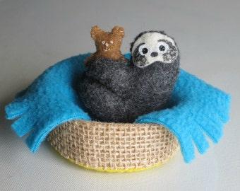 Sloth miniature felt plushie stuffed animal - teddy bear - blanket - basket -handmade rain forest animal -gift for her -gift for him-funny