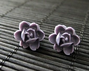 Dusk Purple Tiny Lotus Rose Post Earrings. Bronze Stud Earrings. Dark Purple Earrings.  Purple Flower Earrings. Handmade Jewelry.
