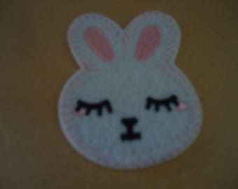fusible badge - Bunny - white - pink - black - height 7 cm