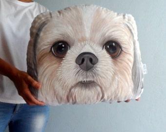 Shih Tzu  Pillow, Custom Dog Pillow, Custom Pet Portrait  Plush Pillow -XL SIZE , Personalized  gift for pet lovers, dog lovers gift