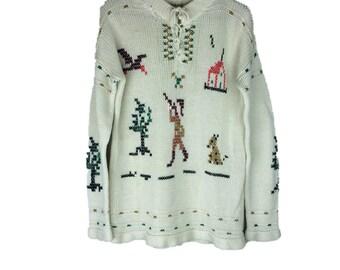 Vintage Hunter Sweater | 60s Cream White Sweater | 70s Cross Stitch Sweater | Duck Hunter Sweater | Boho Sweater Full Fashioned L | SW52