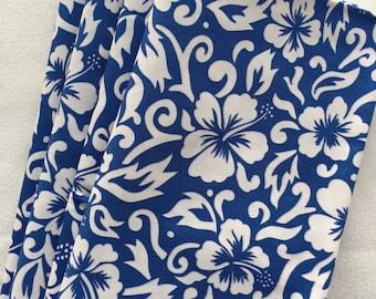 Napkins, Aloha Print Fabric Napkins, Luau Napkins, Hemmed Fabric Napkins, Cloth Dinner Napkins, Hawaiian Blue/White Print Fabric Napkins
