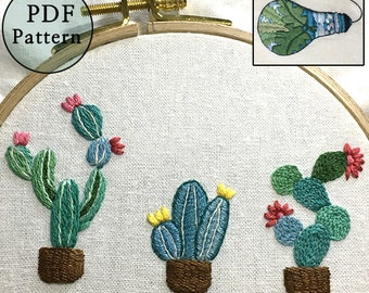 plus_ BonusFreePattern_Cute Little Cacti__Cactus/PDF files_+Reversed Pattern_instant download files_Hand Embroidery Pattern_NewUpdatedGuide!
