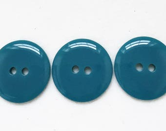 dark turquoise blue eco friendly shiny opaque minimalist buttons--matching lot of 3