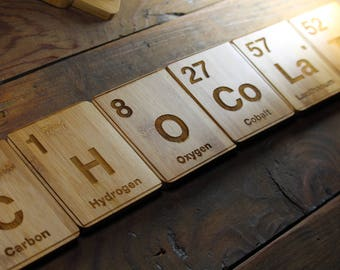 Periodic table chocolate etsy periodic table chocolate coasters elements chemist gifts science decor scientific art urtaz Choice Image