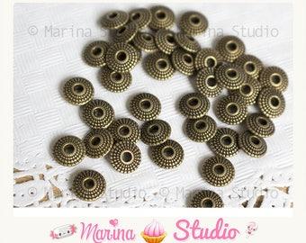 20 bronze 8x8mm engraved saucer beads
