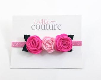 Hot Pink and pink Headband, Pink Headband, Pink Flower Girl Headband, Pink Birthday Headband, Pink flower headband, Pink felt headband
