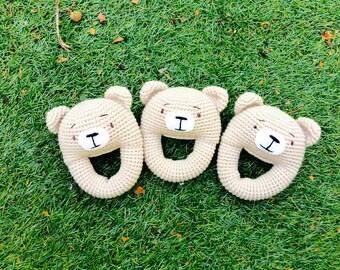 Bear Rattle, Crochet Koala Rattle, Baby Rattle, Crochet Baby Rattle, Bear Rattle, Bear Teething Toy, Baby Shower Gift, Nursery Gift