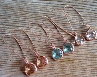 Rose Gold Earrings, Dainty Earrings, Framed Glass Earrings, Minimalist Earrings, Rose Gold Glass Earrings, Bridal Earrings, Bridesmaid Gift