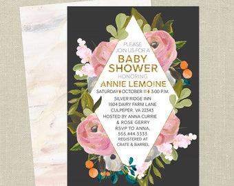 Floral Baby Shower Invitation--Geometric, Diamond, Bouquet, Elegant, Pink, Gray, Printable Invitation, Digital File, Modern Baby Shower