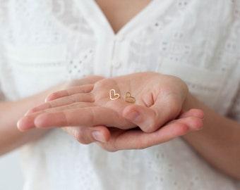 Tiny Heart Gold Earrings, Heart Stud Earrings, Small Post Earrings Gold, Minimalist Earrings, Simple Everyday Jewelry, Heart Earrings