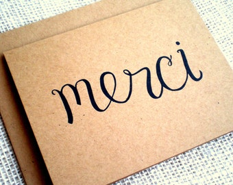 Kraft Thank You Cards with Envelopes - Set of 10 Simple Elegant Merci Thank You Cards - Kraft Brown French Merci - Great for Weddings