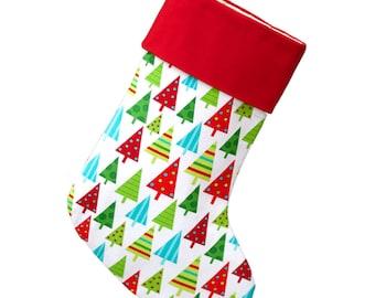 Large Christmas Stocking Christmas Trees Stocking -- Personalized Stocking Option Available | CS0041 Ready To Ship