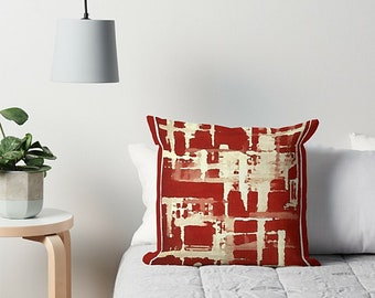 Art Pillow, Throw Pillow, Red And Cream, Sofa Pillow, Couch Pillow, Red Throw Pillow, Abstract Pillow, Accent Pillow, Red Pillow