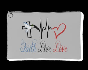 Faith Live Love Accessory Pouch