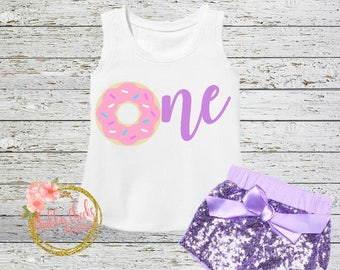 girls donut birthday outfit- first birthday set- sparkle shorts- pink and lavender- donut party- baby girl