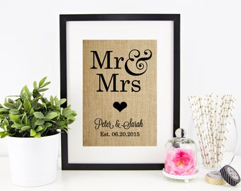 Personalized Wedding Gift MR MRS   Personalized Gift for Couple   Names Wedding Date   Custom Wedding Sign   Rustic Burlap Art Print