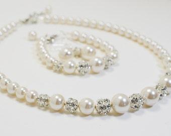 Ivory Pearl and Rhinestone Jewelry Set, Pearl Bridal Necklace, Pearl and Rhinestone Jewelry, Ivory Pearl Necklace, Ivory Bridesmaid Jewelry.