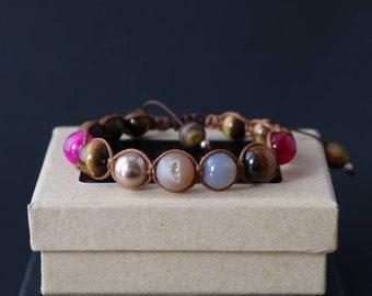 Lucky Charm' Shamballa Bracelet, Women's Bracelet, Beaded Bracelet, Gemstone Bracelet, Tibetan Bracelet, Hippie Bracelet, Boho Bracelet