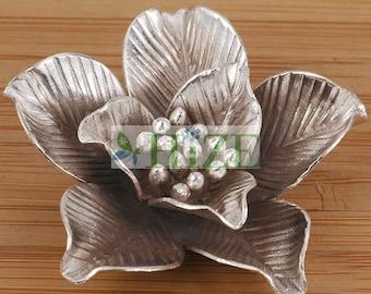 HIZE SF172 Thai Karen Hill Tribe Silver Gardenia Flower Focal Pendant 38mm
