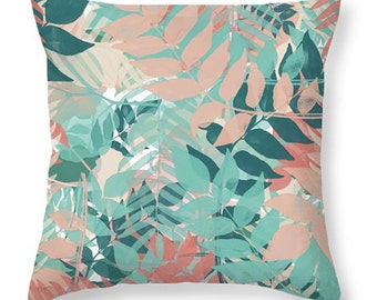 DECORATIVE PILLOW - Peach, turquoise, and teal, lumbar or square pillow, botanical pillows, home accents, dorm decor, botanical home decor