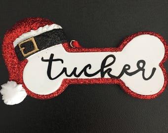 Personalized Dog Ornament - Santa Hat