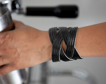 Women or Men's Black Leather Cuff  - the Jazz
