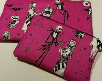 Nightmare 2 Piece Set Zippered Dark Pink and Black Wallet and Coin Pouch Make Up Bag Pencil Case Anime Cosplay