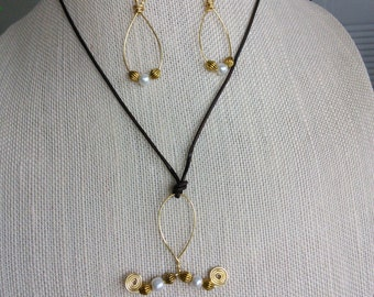 Wire Golden Pearl Set