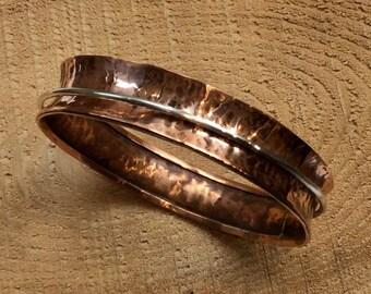 Hammered bronze bangle, Sterling silver spinner bangle, meditation bracelet, statement bangle, simple hammered bangle - My Same B3002