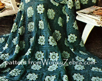 Vintage Crochet Blanket Pattern PDF 638 from WonkyZebra