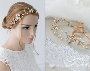 Birdal hairpiece, vintage hair vine, wedding hair jewelry, golden oder silvery
