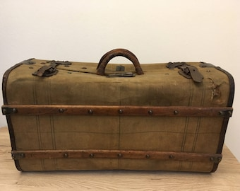 1800s Antique suitcase, authentic vintage travel bag, antique luggage, distressed worn canvas, leather, globetrotter style