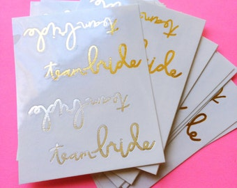 team bride metallic tattoos wedding temporary tattoos bachelorette party tattoos fake tattoos handlettered script tattoo set bridesmaid gift