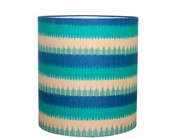 Blue Lamp Shade - Hand Printed Ikat Fabric - Medium Drum Lampshade - Bohemian Decor -