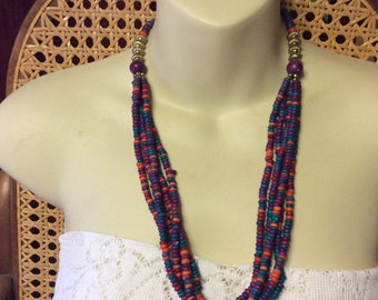 Vintage 1960s heavy ceramic dyed beads multi strand necklace.