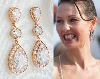 Rose Gold Earrings, Wedding Earrings, Rose Gold Bridal Earrings, Crystal Earrings, Bride Earrings, Wedding Bridal Jewelry, Evana