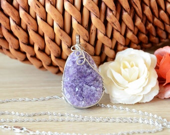 Natural Amethyst Druzy Cluster Pendant Necklace