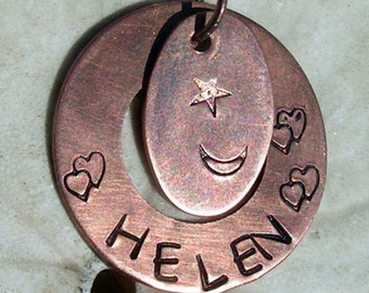 Copper Moon, Star and Heart Pendant. Jewelry  Your Name Included,Jewelry