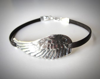 Leather Choker, Angel Wing bracelet, festival jewelry, Flight Bird Wing, Sterling Silver Angel Wing, Leather Bracelet, graduation gift