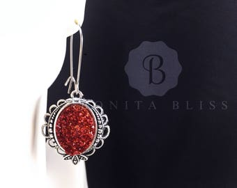 Red Ornate Oval Druzy Earrings, Faux Druzy Earrings, Bridesmaid Gift Druzy, Red Druzy Earrings, Oval Drusy