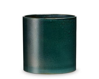 Green Ceramic Flower Pot by H. Skjalm P. 14 x 14 cm