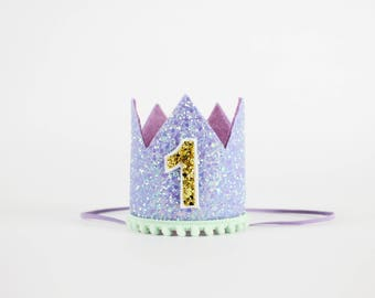 First Birthday Crown | 1st Birthday Girl Outfit | 1st Birthday Crown | Baby Girl First Birthday Hat | First Birthday Girl | Purple Mint Gold